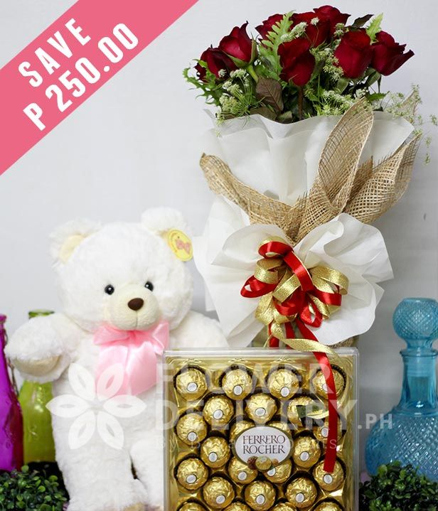 Flower Delivery Philippines 1 Dozen Red Roses with Bear and 24 pcs. Ferrero