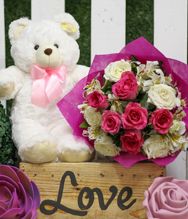 Flower Delivery Philippines 1 Dozen Red and White Roses with 14 inches bear and Ferrero Chocolates
