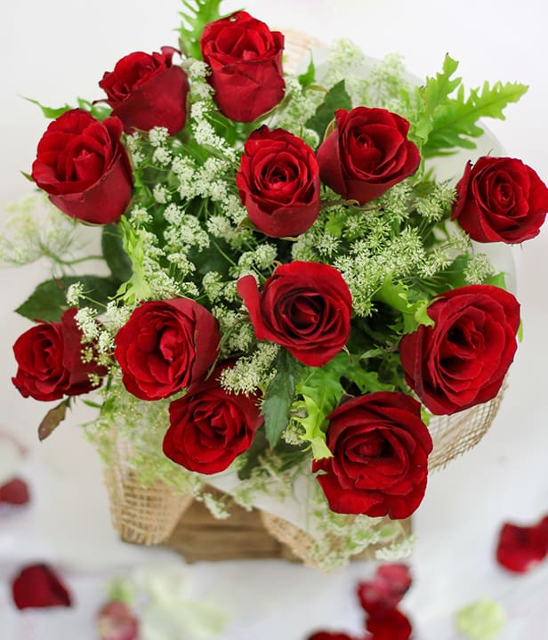 Flower Delivery Philippines 1 Dozen Red Roses Round Bouquet