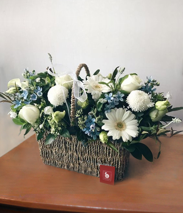 A Basket of Mixed Special White Flowers
